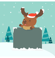 Christmas of reindeer holding board vector image