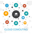 cloud computing trendy web concept with icons vector image