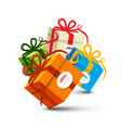 colorful paper gift boxes on white background vector image vector image