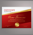 creative red and golden certificate design vector image vector image