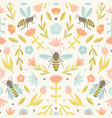cute flowers and bees vector image