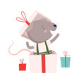 cute mouse sitting inside gift box cute small vector image vector image