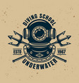 diving protective vintage helmet and two tridents vector image vector image