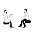 doctor and man are talking black outline vector image vector image