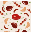 Grill Barbecue Meat Seamless Pattern in flat style vector image vector image