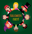 group of funny children in carnival costumes of vector image vector image