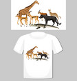 group wild animals design for t-shirt vector image vector image