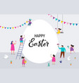 happy easter banner with families and kids vector image vector image