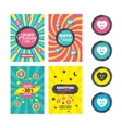 Heart smile face icons Happy sad cry vector image vector image