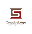 letter s and g red brown square logo flat vector image vector image