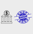 line dollar bank icon and grunge shop vector image vector image