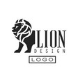 lion logo design monochrome element for poster vector image
