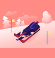 luger in sportswear and helmet lying on sleigh vector image