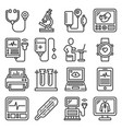 medical equipment for diagnostic icons set vector image