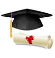 Mortarboard and diploma vector image