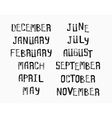 Names of months of the year vintage grunge typo vector image