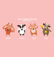 ox cow bull character greeting chinese new year vector image