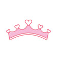 pink girly princess royalty crown with heart vector image vector image