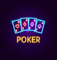 poker aces neon label vector image vector image