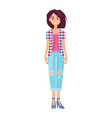 pretty brunette in fashionable jeans trousers vector image vector image