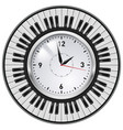 realistic office clock and piano keys on white vector image vector image