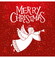 red christmas card with christmas angel vector image