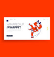 santa claus dancing brake stand on one arm landing vector image vector image