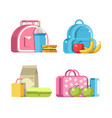 school lunches in modern bags with healthy vector image vector image