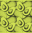 seamless pattern with hand drawn avocado vector image vector image