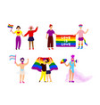 set lgbtq rights activists on pride vector image vector image