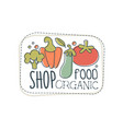 shop organic food logo template label for healthy vector image vector image
