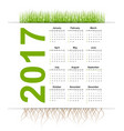 simple calendar 2017 year grass style vector image