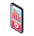 smartphone graph icon isometric style vector image vector image