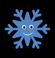 snowflake smiley baby face cute winter blue snow vector image