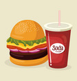 soda with amburger fast food menu vector image
