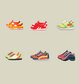 sport shoes in six kinds with flat background vector image vector image