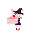 the witch holding a cake pink halloween funny and vector image vector image