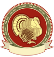 Turkey on label of thanksgiving holiday vector image vector image