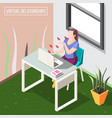 virtual relationships isometric background vector image vector image