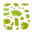 wads stacks rolls of dollar banknotes and coins vector image vector image