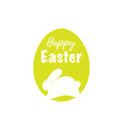 white bunny with lettering on color background vector image