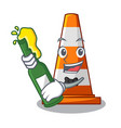 with beer on traffic cone against mascot argaet vector image vector image