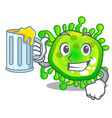 with juice cartoon microbes on the humans hand vector image vector image