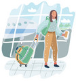 young american woman in airport vector image