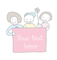 cute children hand drawn holding board with flower vector image