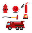 fire safety icons set isolated on white background vector image