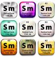 A periodic table button showing Samarium vector image vector image