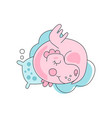 adorable pink dragon sleeping with pillow on blue vector image