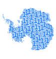 antarctica map mosaic of binary digits vector image
