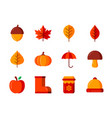 autumn icon set with flat color style symbols vector image